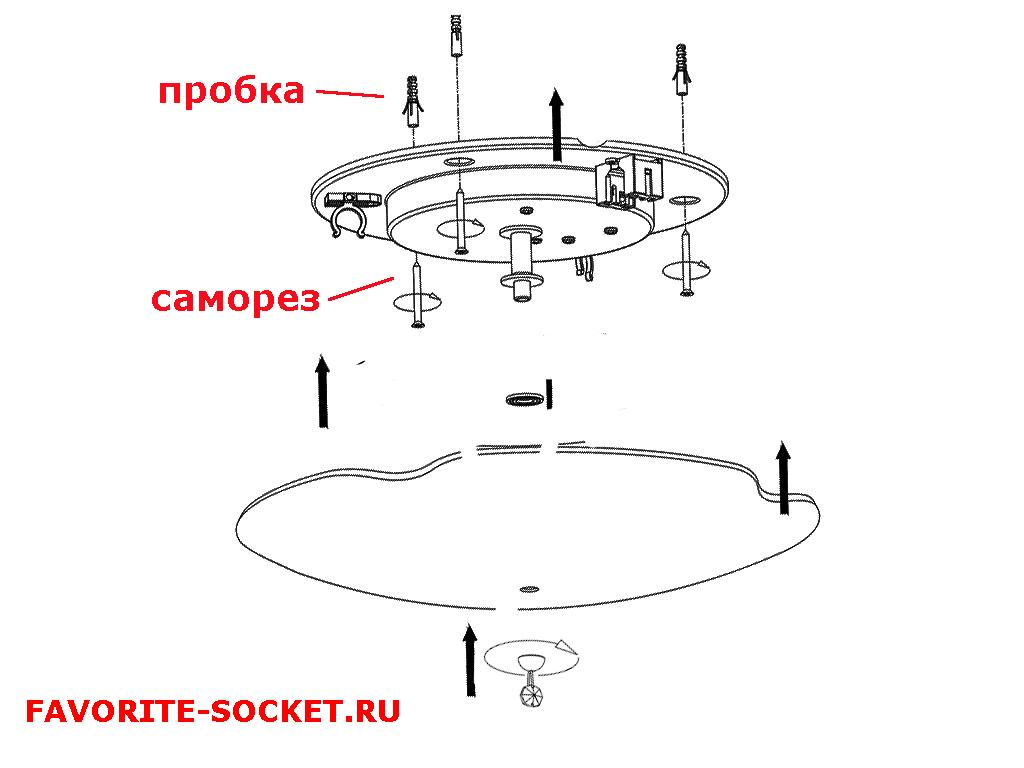 Монтаж светильника на дюбель-гвозди