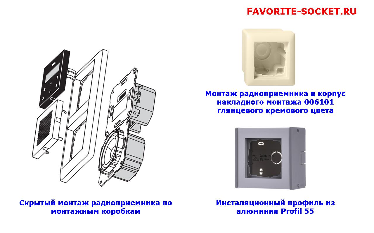 Варианты инсталяции радиоприемника GIRA