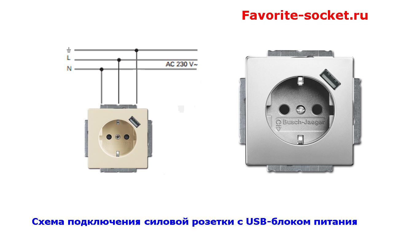 Схема подключения силовой розетки с блоком USB