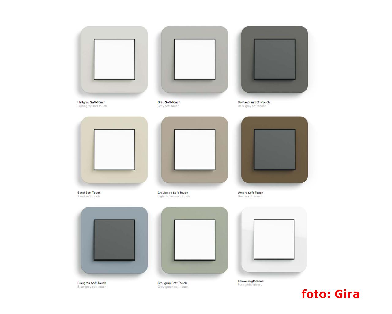 цветовая палитра серии GIRA E3