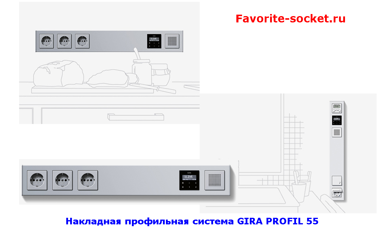 Накладной монтаж розеток на кухне GIRA PROFIL 55